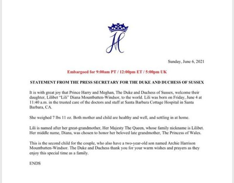 البيان الرسمي بإعلان الولادة على موقع Archewell- الصورة من موقع ميرور