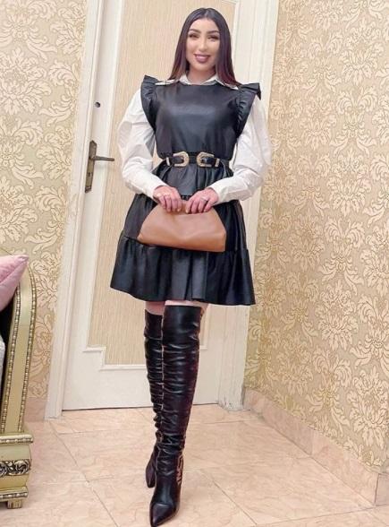 فستان أسود جلد من دنيا بطمة -صورة 1