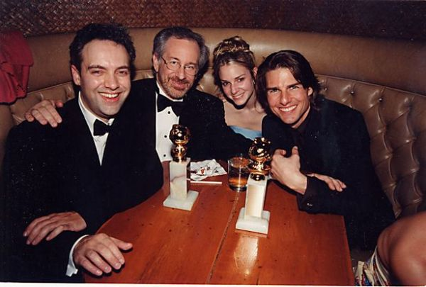 Tom Cruise amid Sam Mendes and Stephen Spielberg at the party in 2000 - Photo via Mirror