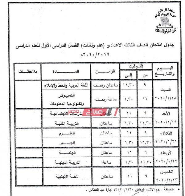 جدول امتحانات محافظة كفر الشيخ جميع المراحل 2019 2020 موقع صباح مصر
