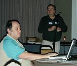 Left: Morri and Brian present Microsoft Office X. (Photo: Robert Winokur)