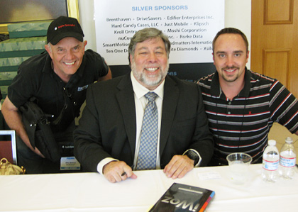 Mike Bishop (left) with the legendary Woz (center) and unidentified enthusiast  [right].