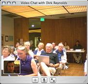 Ian's view of iChat with Dirk. Ian sees himself (lower left), Dirk's camera is pointed at the audience.  (Photo: ian lessing)