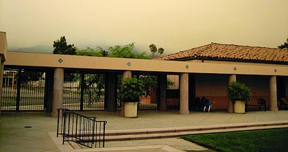 The sky above Peabody School was smoky and dark from the Zaca fire north of Santa Barbara, but the atmosphere was warm and welcoming inside.
