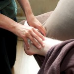 Deep Tissue Massage for a previously sprained ankle (photograph)