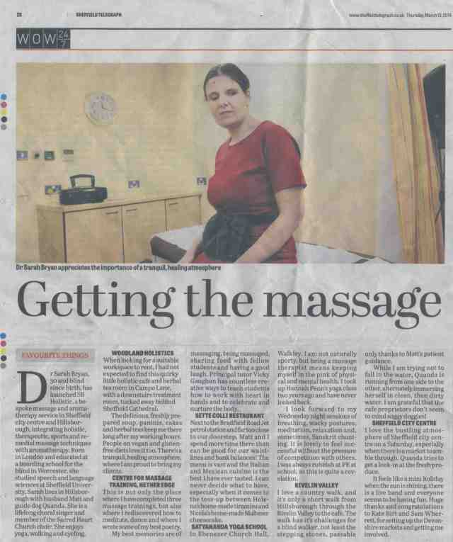 Sheffield Telegraph Article - Favourite Things, featuring Dr. Sarah Bryan