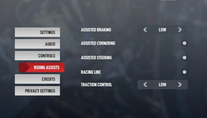 A screenshot of the Riding Assists menu tab