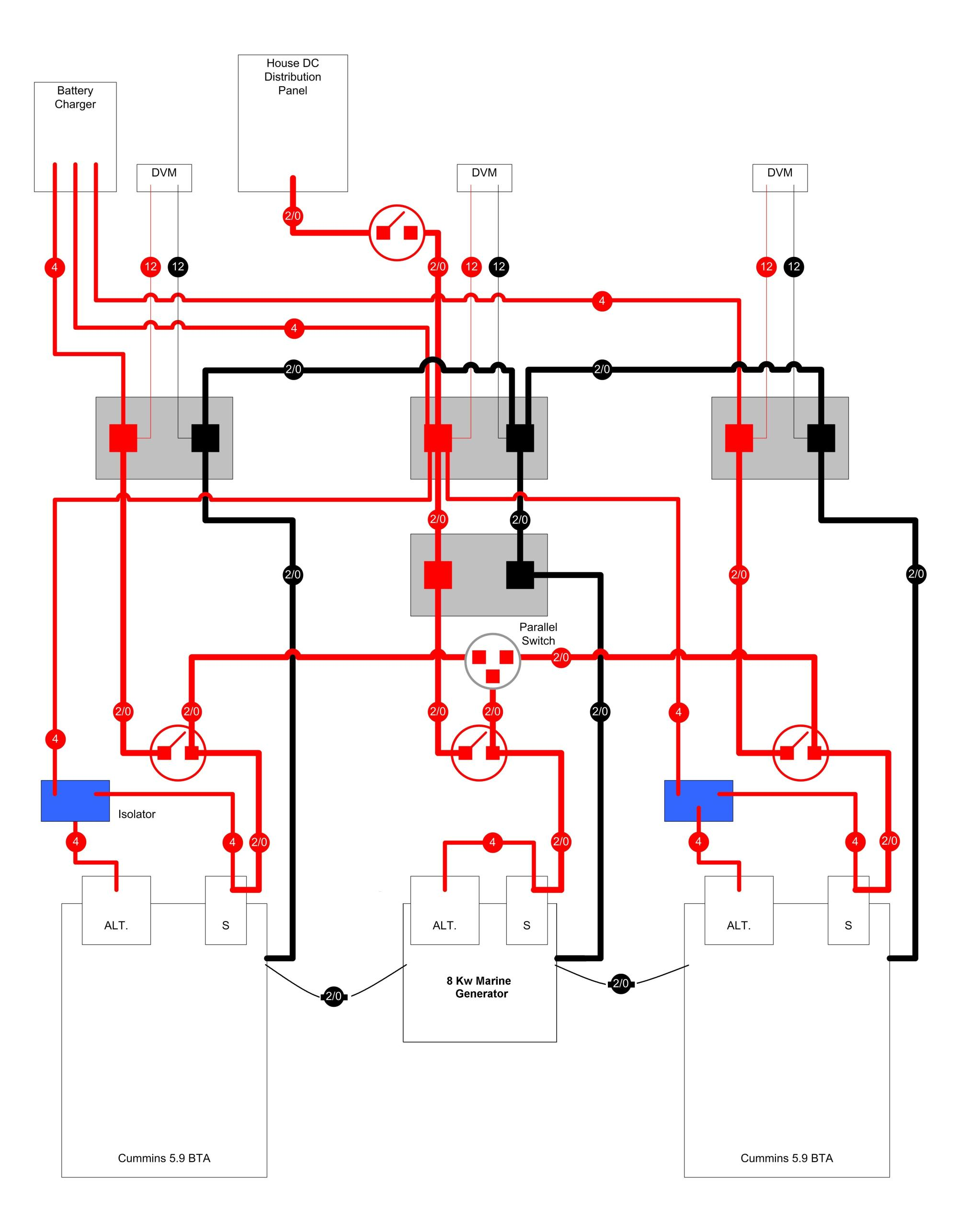 hight resolution of  typical marine dc power distribution example