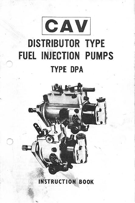 John Deere 6310 Wiring Diagram Lucas Cav Dpa Injection Pump Instruction Book Seaboard