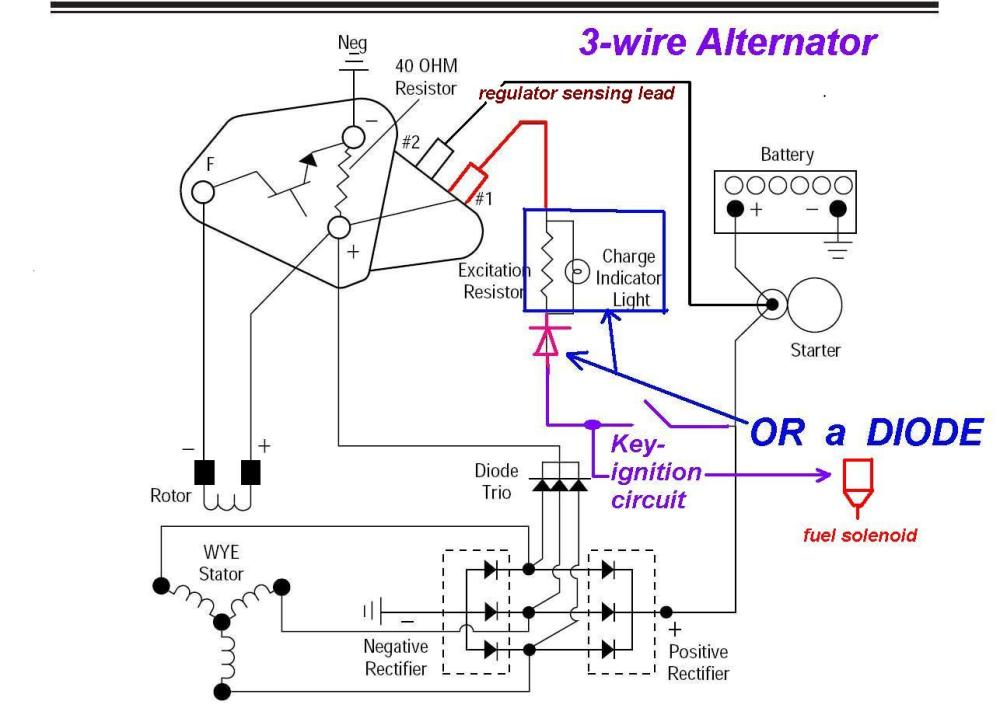 medium resolution of 3 wire alternator regulator diagram