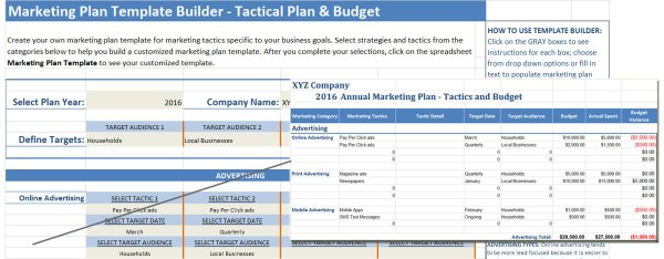 Marketing Plan Template Builder For Tactics And Budget Plans  Small