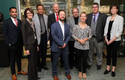 Pictured here (back row, l-r) are: Dr. Davinder Jassal, St. B., Dr. Pawan Singal, St. B., Dr. Grant Pierce, St. B., Dr. Ross Feldman, St. B., Dr. Todd Duhamel, St. B., Dr. Marie-Pierre Dube, MHI. (Front row, l-r) Dr. Celine Fiset, MHI, Dr. Simon de Denus, MHI, and Dr. Julie Hussin, MHI.