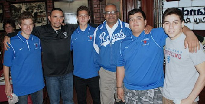 San Marcos was represented by soccer player Avi Ghitterman, equipment manager Elias Mendez, soccer player Camilo Gonzagui, athletic director Abe Jahadhmy and wrestlers Anthony Hernandez and Shyloh Almada.