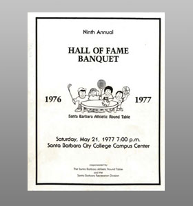 Santa Barbara Athletic Round Table 1977 Hall of Fame Banquet Cover