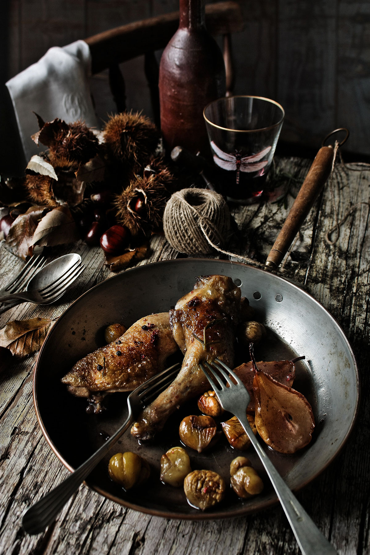 Chicken thighs with pears chestnuts and port recipe  SBS