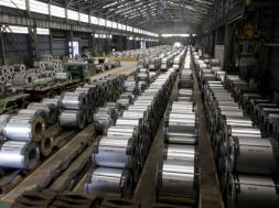 Columns of steel are stacked inside the China Steel production factory in Kaohsiung, southern Taiwan