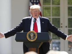 U.S. President Trump announces decision to withdraw from Paris Climate Agreement in the White House Rose Garden in Washington