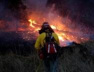 FILE PHOTO: Firefighters battle a wildfire near Santa Rosa, California