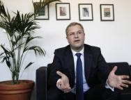 Soren Skou, the CEO of Maersk Line speaks during an interview with Reuters at a hotel in London