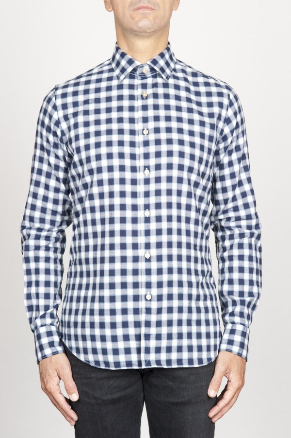 Classic Point Collar White And Black Checkered Cotton Shirt