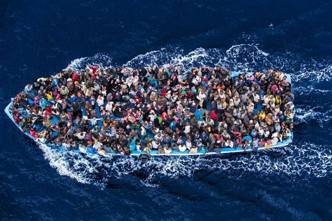 Refugees on Small Boat