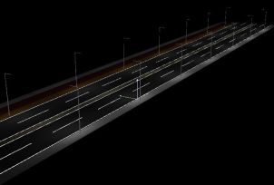 DIALux 4.11 rendu 3D Eclairage routier calcul d'éfficacité energétique et conformité à la norme NF EN 13201 Eclairage public