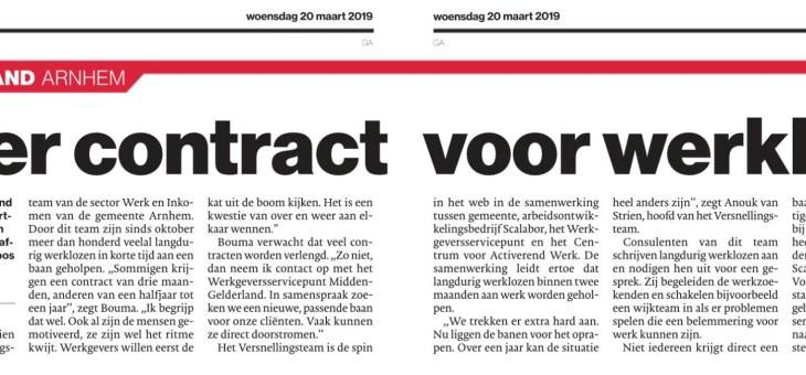 In de krant: vaker contract voor werkloze