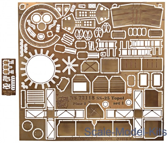 Photoetched, set 1 for Zvezda Topol SS-25 model kit