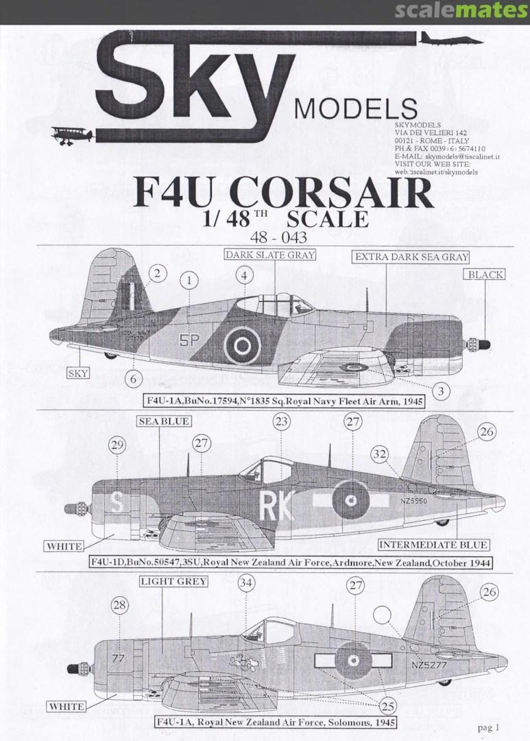 F4u Corsair Sky Models 48 043