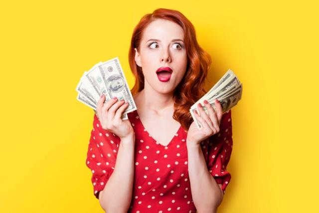 How To Get Started With Affiliate Marketing - woman with money amazed