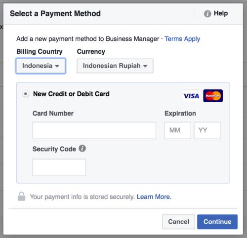 memasukkan metode pembayaran akun facebook ads