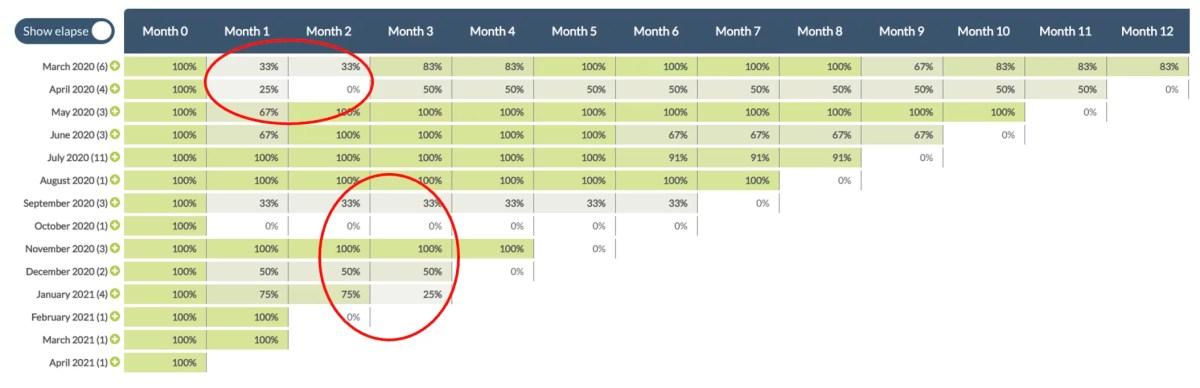 Customer retention cohort analysis