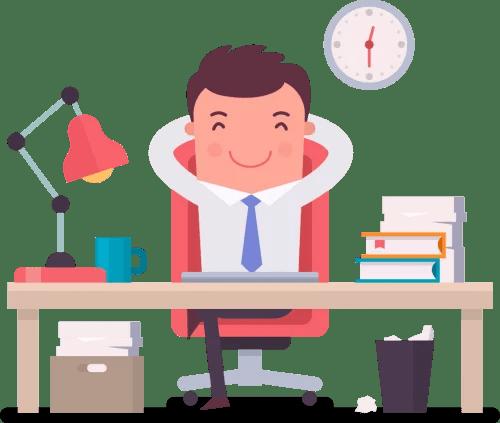 happy man sitting on desk