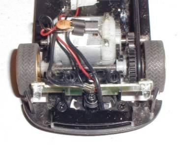 Inside of the Scalextric Subaru Impreza