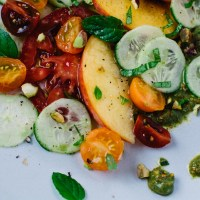 Heirloom tomato, peach and cucumber salad