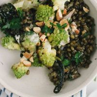 Freekeh romanesco bowl with smoky lemon cashew sauce