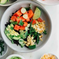 Watermelon poke bowl with spicy coconut dressing