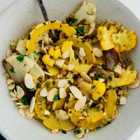Orange spiced cauliflower and squash bowl