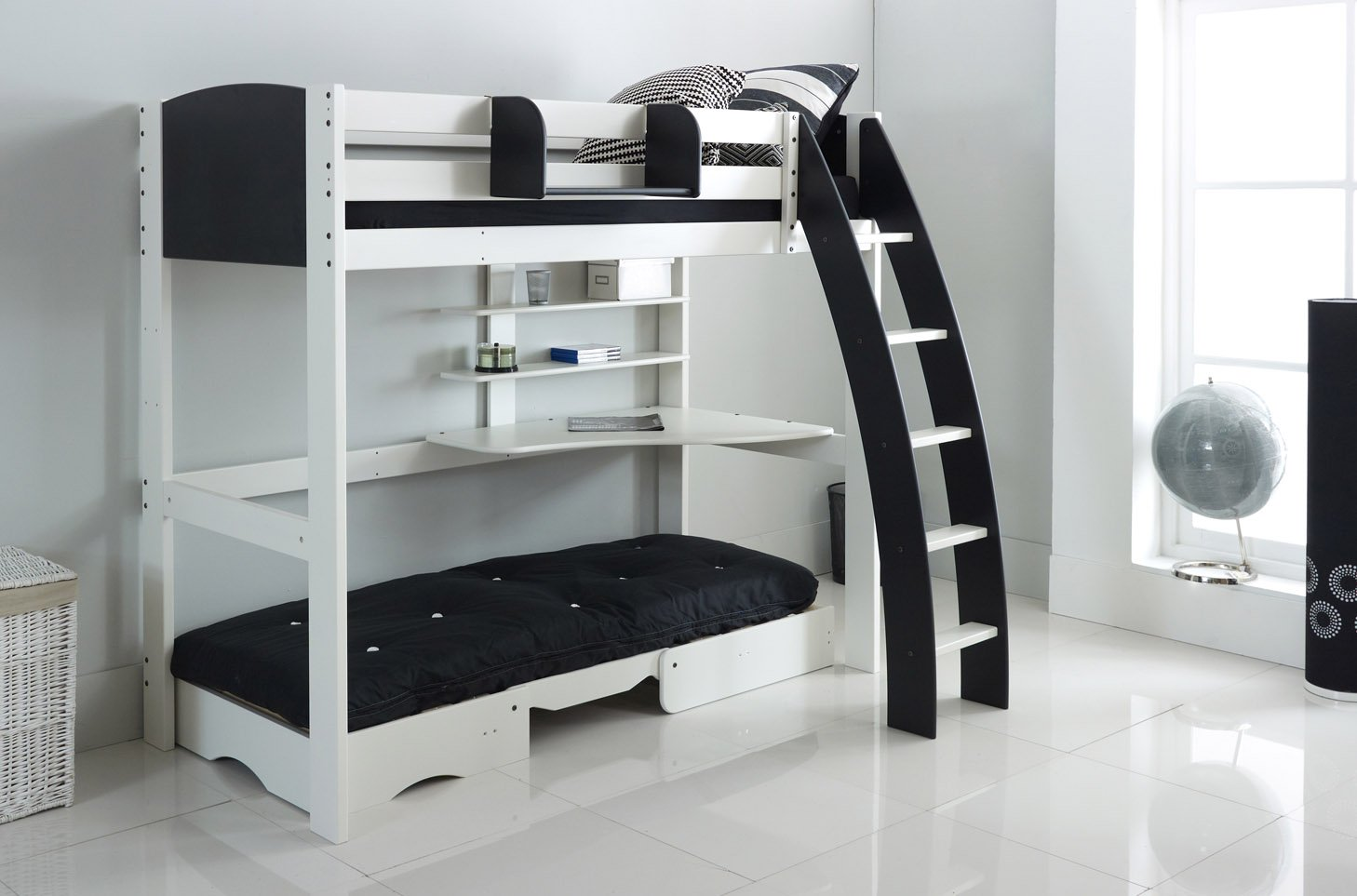 High Sleeper Bed with Integral Desk Shelves Chair Bed