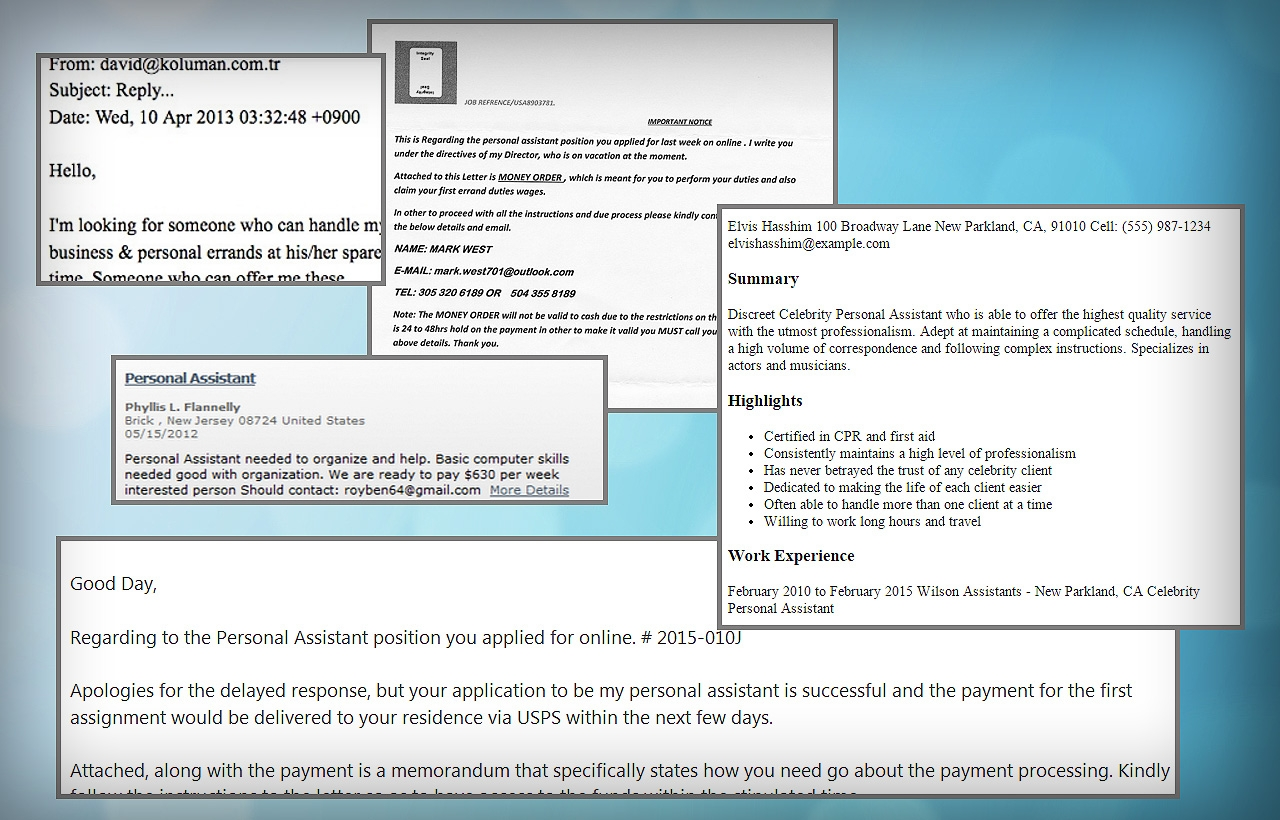 Personal Assistant Wanted | Scam Detector