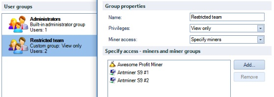 Awesome Miner Security Access