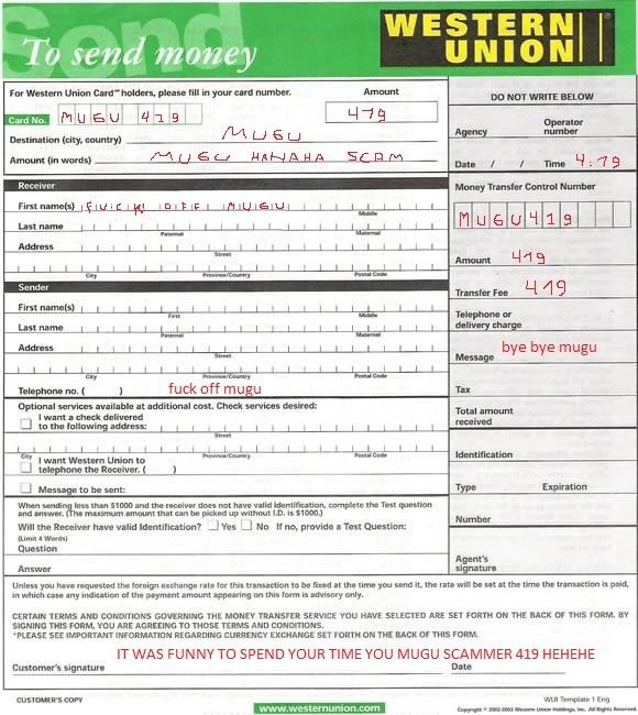 Western Union Blank Form Order Money