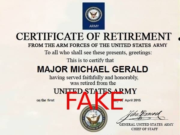 RETIREMENT FAKE