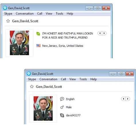 SCAMMERS on SKYPE: david43277 /david45959 (Gen,David Scott)