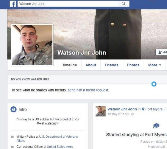 Romance scam, Fake Soldier. Watson Jnr John