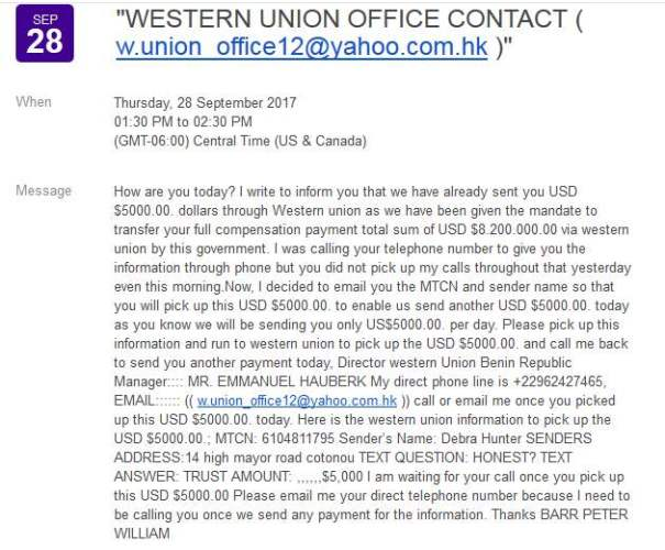 SCAM/SPAM: Advance Fee Fraud/Phishing: WESTERN UNION OFFICE CONTACT, Barr Peter William/Emmanuel Hauberk (Benin)