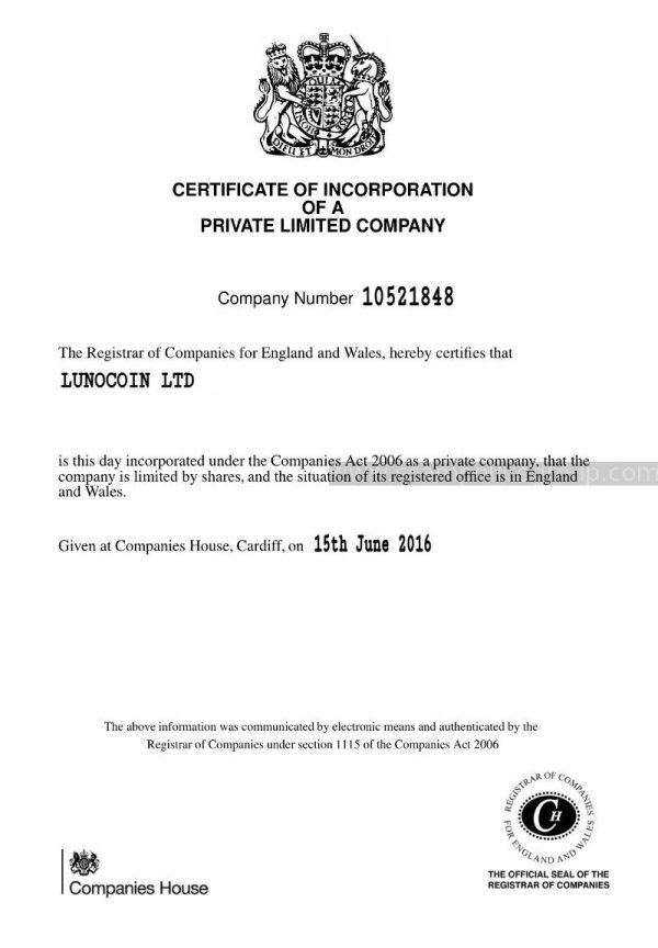 Fake company registration form of lunocoin.net