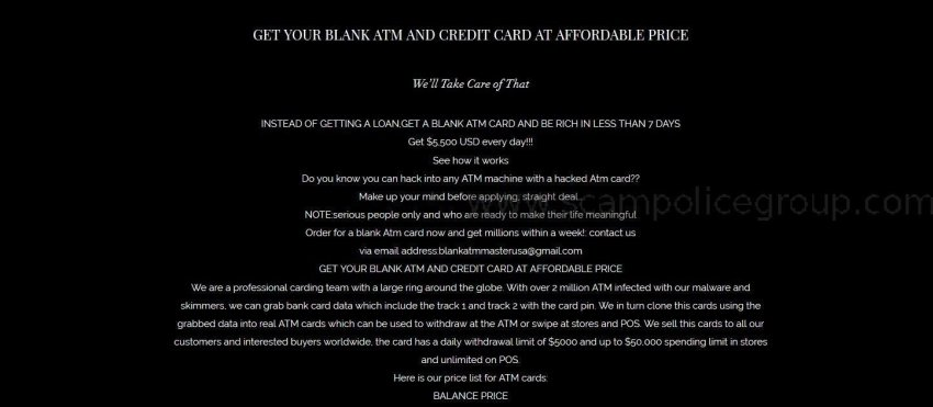 SPAM: Advance Fee Fraud/Phishing: BLANK ATM MASTER USA DATABASE –