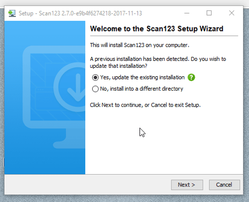 screenshot of scan123 desktop client installation wizard
