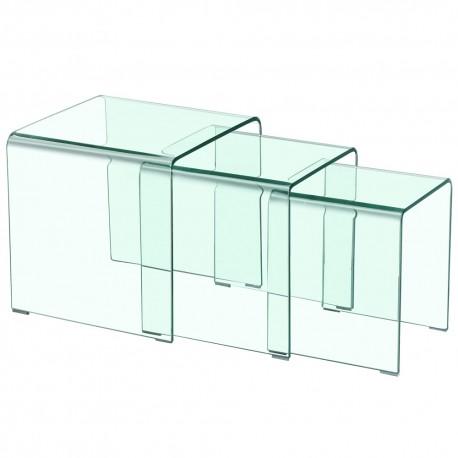 table basse gigogne design transparent